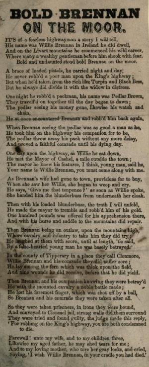 "5. ""Bold Brannan On The Moor"", broadside, date & printer unknown, from: [An Album Of Street Literature], n. d., p. 294"