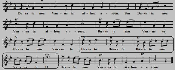 "11. ""Aileen Aroon"", as sung by Kitty Clive, 1742 (see No. 4), original key ""G"", here transposed to ""Bb"""