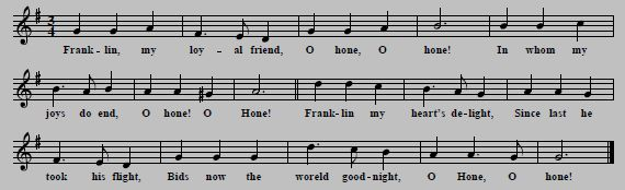 "6. Tune and first verse of ""Franklin Is Fled Away"" (or ""O Hone, O Hone""), known since the 1650s, quoted from William Chappell, The Ballad Literature And Popular Music Of The Olden Time, Vol.1, London 1855, p. 370"