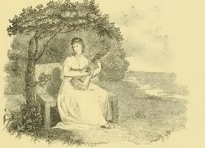 7. Lady with a harp-guitar, illustration from Chabran's Instructions for playing on the Harp-Guitar and Lute, reprinted in Armstrong 1908, p. 27