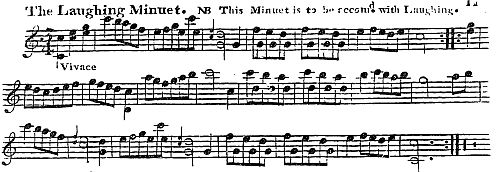 3. The Laughing Minuet, from: Longman & Broderip's  Pocket Book For The Guittar, 2nd Edition, London 1776,p. 11