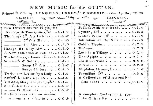 4. Longman, Lukey & Broderip, Music books for the guittar , from: A Pocket Book For The Guittar, 2nd Edition, London 1776, p. I