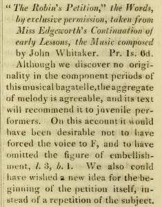 "3. Review of John Whitaker's ""Robin's Petition"" in: The Repository of Arts, Literature, Fashions, Manufactures, 2nd Ser., Vol. 1, No. 1, London 1816, p. 114"