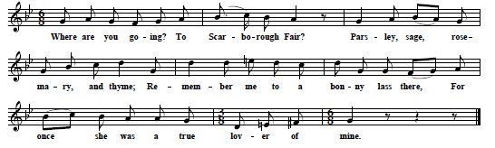 "38. ""Scarborough Fair"", from Cecil Sharp, One Hundred English Folk Songs For Medium Voice, 1916, No.74, p. 167"