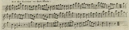 "2. ""The Cuckow"", guittar arrangement from undated songsheet, ca. 1775"