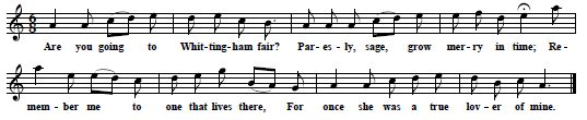 """Whittingham Fair"", tune and text from Thomas Hepple manuscript, ca.1857"