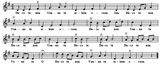 9. Tune & text (first verse only) from: The celebrated Irish Ballad Elin a Roon, sung by Mrs. Clive in Irish, as she perform'd it at the Theatre Royal in Dublin, n. d. [1742?]
