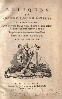 7. Thomas Percy, Reliques Of Ancient English Poetry, 1765