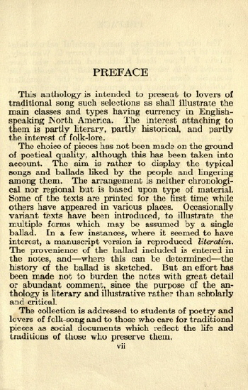 17. Preface to Louise Pound, American Songs And Ballads, 1922