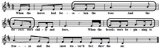 "B:  The melody of ""The Robin's Petition"" by John Whitaker 1814, from Davidson's Universal Melodist, 1856, p. 276 (original key G, transposed to D)"