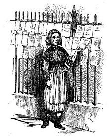 13. A girl selling song sheets on the street, ca. 1870