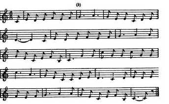 "19. The melody of ""Mary Of The Wild Moor"", a version from Ohio (JAF 1922, p.  390, version b)"